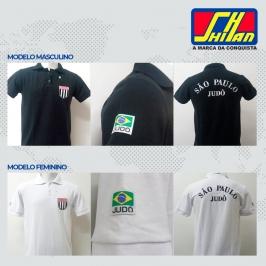 Camiseta polo Judô  Maculina  Bordado FPJ  Preta